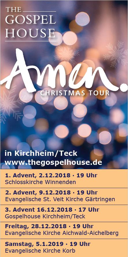 Gospel House Konzert in Kirchheim Teck am 16. Dezember 2018
